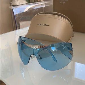 Giorgio Armani blue shield oversized sunglasses